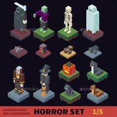 Isometric Vector Horror Characters Set PSD, Vector EPS. Download here: https://graphicriver.net/item/isometric-vector-horror-characters-set/13009754?ref=ksioks