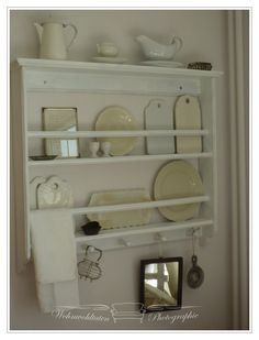 Kitchen Shelf. White, Grey, Black, Chippy, Shabby Chic, Whitewashed, Cottage, French Country, Rustic, Swedish decor Idea. ***Pinned by oldattic ***.