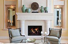 fireplace decoration - modern mediterranean living room decor