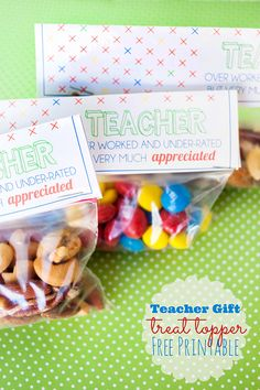 Teacher gift treat topper free printable. Teacher appreciation week gift idea, or can be used all year long for a treat, or healthy snack like mixed nuts.
