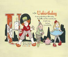 U is for Unbirthday 9x7.5 Wonderland Alphabet