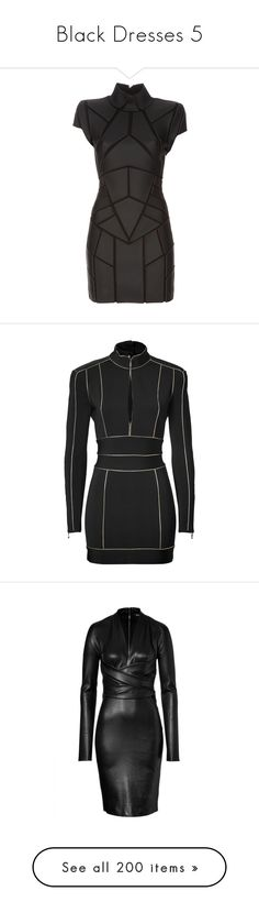"""Black Dresses 5"" by kingcrimson ❤ liked on Polyvore featuring dresses, vestidos, short dresses, black, women, geometric dresses, structured dress, panel dress, gareth pugh and balmain"