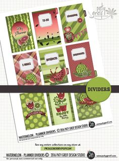 My new adventure: Planners =) Here is the Watermelon Planner Dividers. 09 exclusive dividers x Grab them! From Paty Greif - Design Studio. Arc Planner, Planner Dividers, Printable Planner, Printables, Planner Sheets, Master Plan, How To Plan, How To Make, Planners