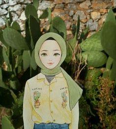 Image may contain: 1 person, plant Illustrations, Illustration Art, Hijab Drawing, Islamic Cartoon, Anime Muslim, Hijab Cartoon, Girly Drawings, Digital Art Girl, Cartoon Wallpaper