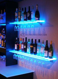Floating Shelves w/ Wine Glass Rack, LED Lighting & Brackets can find Led and more on our website.Floating Shelves w/ Wine Glass Rack, LED Lighting & Brac. Nightclub Design, Home Bar Designs, Wet Bar Designs, Basement Bar Designs, Basement Ideas, Lumiere Led, Rack Shelf, Shelf Display, Shelf Wall