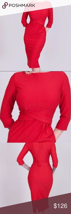 """Tatyana Vickie Red Pencil Dress 50s Twist Waist Brand New with Tags MSRP: $146.00 SOLD OUT IN STORES Vickie Red has ¾ sleeves and an attached belt that criss-crosses in front closing with a button in back.  Unlined.  75% polyester 20% viscose 5% spandex Hand wash with warm water  - Flat dry -  Steam/iron on low heat Imported XS Bust 32""""-34"""" Waist 24""""-26"""" Small Bust 34""""-36"""" Waist 26""""-28"""" 2XL Bust 42""""-44"""" Waist 34""""-36"""" Tatyana Dresses"""