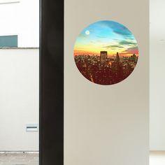 Sun Set City Circle Wall Decal