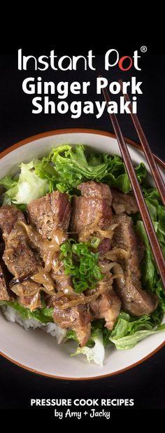 Easy Pressure Cooker Ginger Pork Shogayaki Recipe (Pot-in-Pot): Make this beloved Japanese comfort food. You'll love the rich sweet, savory Ginger Garlic Sauce! via @pressurecookrec
