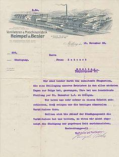 Mödling (bei Wien) - Heimpel & Besler. Ventilatoren- & Maschinenfabrik. Historischer Geschäftsbrief von 1922