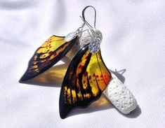 Transparent Clear glass-like Earrings - Butterfly Wing - Silver Plated - Summer Dangle Orange Yellow