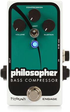 Bass Compressor Pedal with Philosopher's Tone Compressor Circuit, Infinite Clean Sustain, and Bass-specific Harmonic Distortion Guitar Multi Effects, Guitar Effects Pedals, Bass Pedals, Guitar Pedals, Gretsch, Guitar Shop, Distortion, Infinite, Circuit
