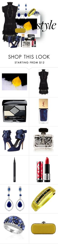 """""""Primary Colors in the Dark"""" by cal-artist ❤ liked on Polyvore featuring Alexander McQueen, Christian Dior, Yves Saint Laurent, Alice + Olivia, NARS Cosmetics, MAKE UP FOR EVER, Effy Jewelry and Bottega Veneta"""