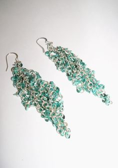 Vintage Earrings Dangle Retro Teal Sequins Wedding Jewelry Beach Garden Prom Special Occasion Gift Idea