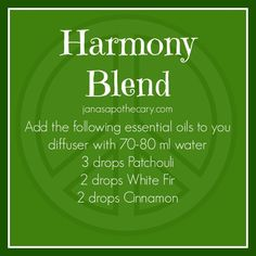 Essential Oil Recipes for Diffusers Harmony Blend. Essential Oil Blend for a diffuser. Essential Oil Blend for a diffuser. Patchouli Essential Oil, Essential Oil Diffuser Blends, Doterra Essential Oils, Young Living Essential Oils, Doterra Blends, Doterra Diffuser, Aromatherapy Oils, Aromatherapy Recipes, Perfume