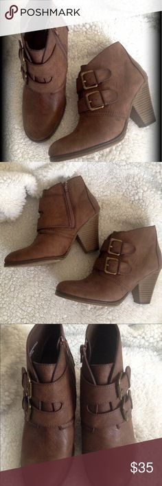 """Cute buckle up boots Two adjustable buckles plus they zip up on the inside for easy on and off. Color is called taupe. Approx 3"""" heel. Super cute! MIA Shoes Ankle Boots & Booties"""