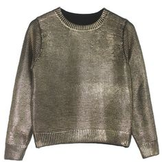 Silver Ribbed Knit Crew Neck Sweater (195 HRK) ❤ liked on Polyvore featuring tops, sweaters, silver top, silver sweater, crew sweater, brown sweater and brown tops