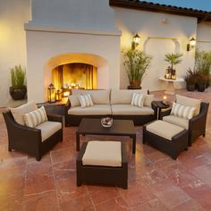 This eight-piece outdoor seating set in Slate grey has everything you need for entertaining in your backyad. Sink into deep seating with a set that features a classic design to last you for years.