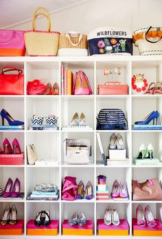 White bookshelf used as storage for displaying shoes and bags