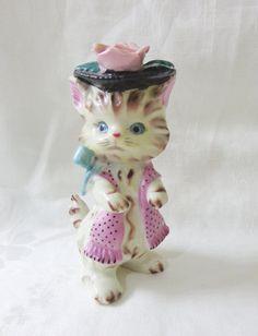 Napco porcelain cat Miss Pris with hat bow scarf figurine vintage cm1493