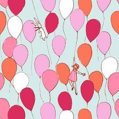 Michael Miller Fabric - SARAH JANE - Children at Play Collection - Balloons in Aqua (1/2 Yard). $5.45, via Etsy.
