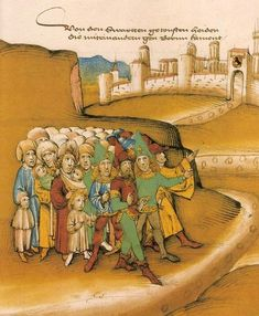 First arrival of Gypsies outside the city of Berne, by Diebold Schilling, 1485 http://www.historynotes.info/the-gypsies-from-10th-to-20th-century-2528/