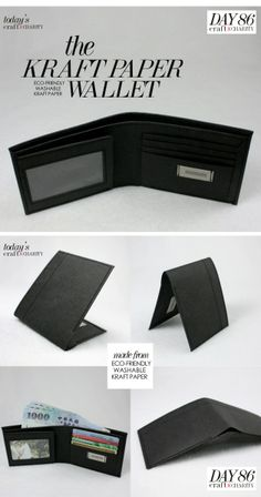 Day 86 - Eco-friendly Washable Kraft Paper Wallet (black) by SIDONIE YANG