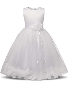 1407093e602 Girl Tutu Flower Petals Bow Bridal Dress for Toddler Girl - White - - Girls   Clothing