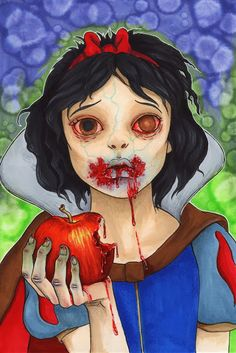 Zombie Princess Snow White By Gabby Untermayerova Zombie Disney, Disney Princess Zombie, Creepy Disney, Disney Horror, Walt Disney, Disney Art, Evil Disney, Disney Dolls, Halloween Games For Kids