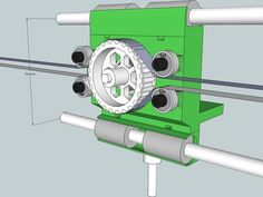 Early concept for a fully symmetric belt-driven extruder carriage for upgrading Prusa Mendel. Belt-driven means there's no stepper motor on the X-carriage, so it can be much lighter and move much faster. It has two X-belts that are controlled by one stepper on each side. If both belts move in the same direction, the X-carriage moves in that direction too. If both belts move in opposite directions, the extruder moves but the X-carriage stands still. x_motion = (stepper1 + stepper2) &#...