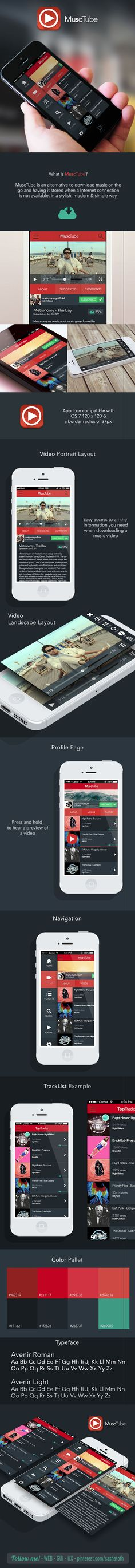 """YouTube downloader re-design *** """"MuscTube is an alternative to download music on the go and having it stored when a Internet connection is not available, in a stylish, modern & simple way."""" by Isaac Sanchez, via Behance *** #app #gui #ui #behance"""
