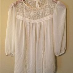 I just discovered this while shopping on Poshmark: Cream lace pleaded top. Check it out!  Size: 8