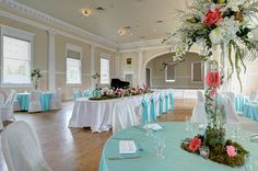 Concert Hall Indoor Wedding Receptions, Wedding Reception Venues, Hotel Wedding, The Stanley Hotel, Concert Hall, Here Comes The Bride, Color Schemes, Table Decorations, Home Decor