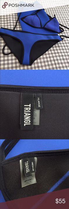 Authentic Triangl Malibu Blue Chloe Bikini w/ bag Authentic Triangl Malibu Blue Chloe Bikini with beach bag. Bottoms Sz XL. Top Sz M. Worn once. Great condition. triangl swimwear Swim Bikinis