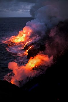 Lava Flow into the Ocean, Volcanoes National Park, Hawaii. I think it is amazing that the islands are slowing growing from these active lava flows.