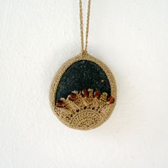 Crochet Lace Stone Necklace - Crochet Jewelry - Large Oversized Lace Stone Necklace - Beach Stone Lacy Pendant - Beach Wedding Necklace. $30.00, via Etsy.