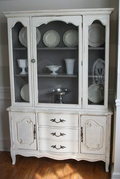 Attirant Weathered Pieces: French China Cabinet $300 Me: Like It With Grey Inside.