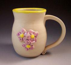 Flower Mug/ Pottery Flower Mug/ Spring Flower by AnneMariesPottery