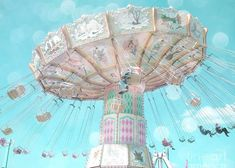 Aqua Teal Blue Ferris Wheel Greeting Card featuring the photograph Dreamy Pastel Aqua Blue Teal Ferris Wheel Swing Ride Carnival Art - Pastel Kids Room Carnival Decor by Kathy Fornal Light Blue Aesthetic, Blue Aesthetic Pastel, Aesthetic Pastel Wallpaper, Aesthetic Colors, Aesthetic Collage, 90s Aesthetic, Bedroom Wall Collage, Photo Wall Collage, Picture Wall