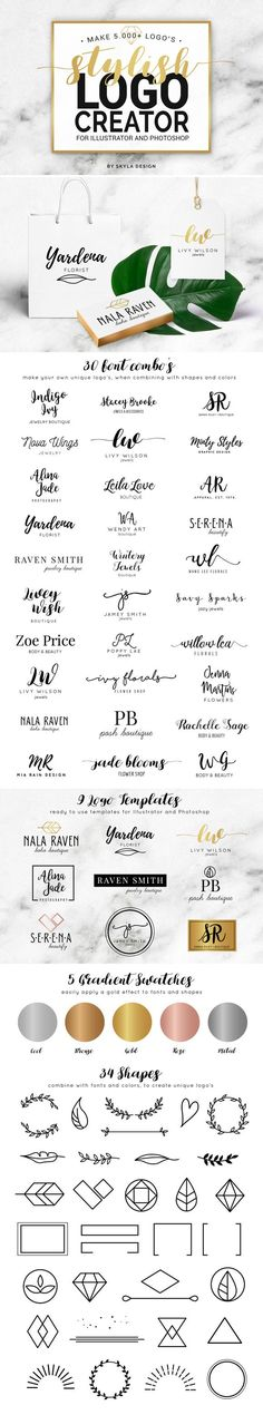 Stylish Logo Creator AI + PS by skyladesign on /creativemarket/