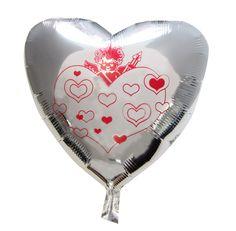 Globo corazón plateado cupido