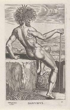 Philips Galle | Riviergod Danubius, Philips Galle, 1586 | De riviergod Danubius (de rivier Donau), gezeten op een steen. De prent maakt deel uit van een zeventiendelige serie over rivier- en zeegoden.
