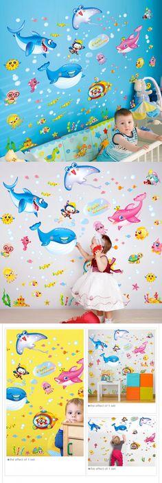 Underwater World Wall Stickers Creative Marine Fish Wall Art DIY Animal Home Decor for Kids Rooms Kindergarten Decoration $7.89
