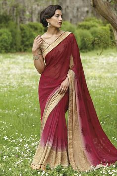 Red Colour Designer Saree Comes With Faux Georgette Fabric. Its an Party wear saree Comes With Matching Blouse Which Can Be Stitched Up to Size 44....