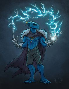 Just finished up this fun commission of a D&D dragonborn sorcerer character! It was my first time drawing a buff dragon man, but not the last, methinks.