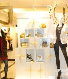 Our cubes in a bebe holiday window display!