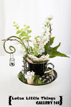 Handmade Teacup Fairy Garden by Karie Ward...avail online and in store!  Lotsa Little Things/Gallery 248