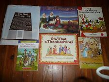 Lot of 6 THANKSGIVING American History Picture books PILGRIMS Colonial DIORAMA