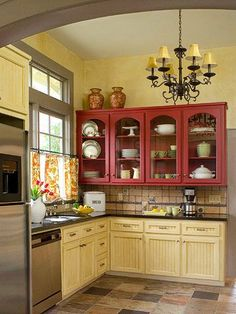 Red and butter yellow kitchen