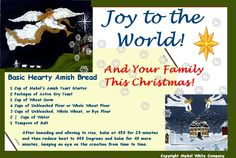 Forward-able Joy to the World Postcard with Recipe for Amish Bread.