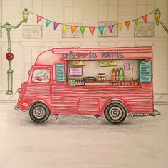 Instagram media cassbuckalew - Love this Secret Paris adult coloring book by @zoedelascases. Thanks @kimhardcastle for such a fun gift. Used my own creative license and added to it by drawing the sidewalk, street lamps, bunting, and building in the background but the truck itself was so cute. I need all these travel coloring books. I'm obsessed. ❤️ #adultcoloringbook #secretpariscoloringbook